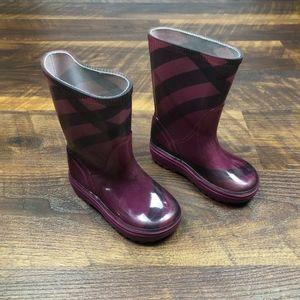 Burberry Toddler Burgundy RainBoots Size 6/7 Girls